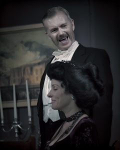 Greg Campbell's performance as Arthur Birling (seen here with his onstage wife, played by Elana Post) in the gripping mystery thriller An Inspector Calls, now playing at the Classic Theatre Festival in Perth (54 Beckwith Street East) has won praise from some of Canada's top theatre reviewers. The show runs until September 11, with tickets at www.classictheatre.ca or 1-877-283-1283. (Photo: Jean-Denis Labelle)